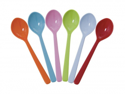 Set of 6 small melamine spoons - bright colours