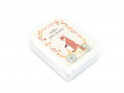 "Small storage box with a fox on a bicycle - ""Follow your dreams"""