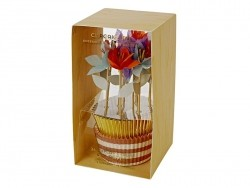 Set de 24 caissettes à cupcakes et 12 toppers - Fleurs pastel