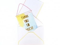 """Postkarte in Wimpelform - """"Thank you so much"""""""
