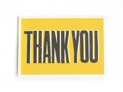 "1 card + envelope - ""Thank you"", yellow"