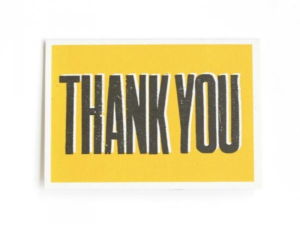 "1 carte + enveloppe  - ""THANK YOU"" jaune"