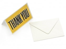 "1 carte + enveloppe  - ""THANK YOU"" jaune"