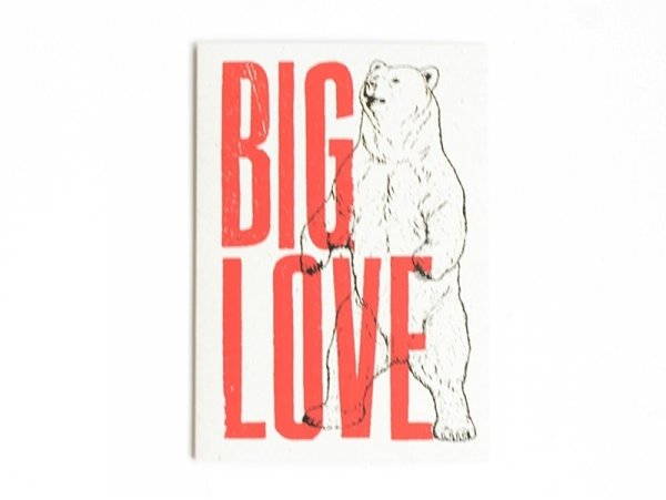 "1 carte + enveloppe  papier - ""Big love"""