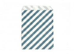 1 pochette cadeau - Rayures Bleu canard