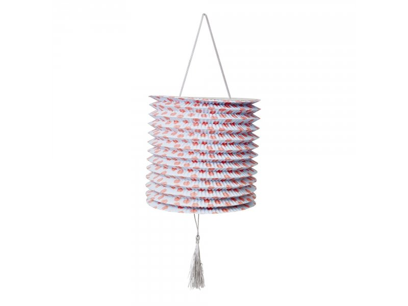 Big paper lantern with bleu and red dots