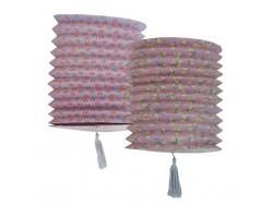 Grande lanterne en papier à pois bleue et rouge