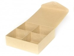 Box with (magnetic) snap shut and 4 compartments - papier-mâché, customisable