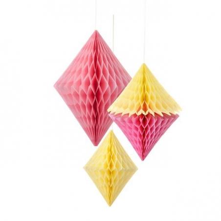 Diamants en papier alvéolé jaune et rose - lot de 3