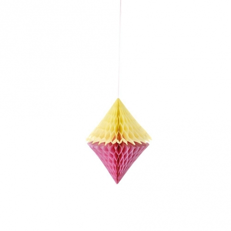 Honeycomb paper diamonds in yellow and pink - pack of 3