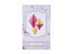 Diamants en papier alvéolé jaune et rose - lot de 3