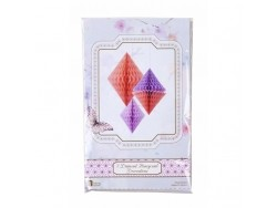Honeycomb paper diamonds in lilac and peach - pack of 3