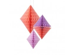Diamants en papier alvéolé lilas et pêche - lot de 3