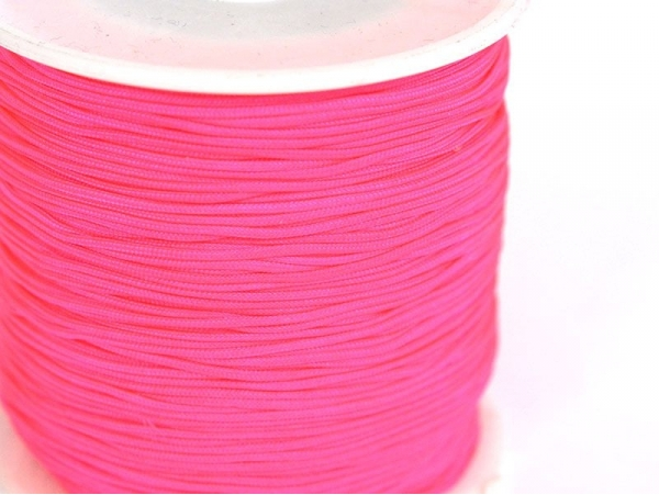 1 m of braided nylon cord (1 mm) - Neon pink