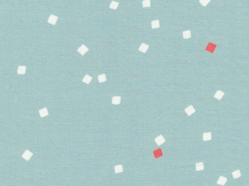 Tissu Shine Green/coral -petits carrés - Atelier Brunette