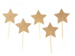 10 toppers pour cupcakes - étoiles kraft Rico Design - 1
