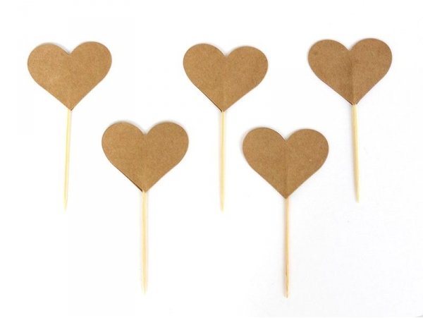 10 toppers pour cupcakes - coeurs kraft