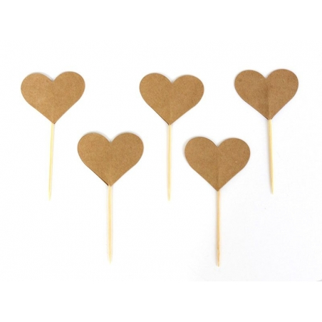 10 cupcake toppers - kraft paper hearts