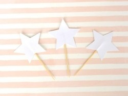 10 cupcake toppers - white stars