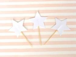 10 Cupcakedekorationen - weiße Sterne