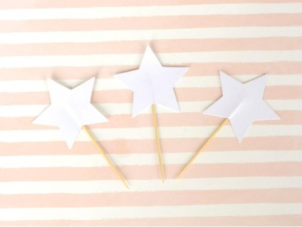 10 toppers pour cupcakes - étoiles blanches