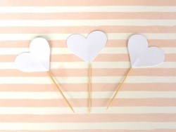 10 toppers pour cupcakes - coeurs blancs