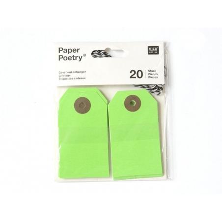20 étiquettes rectangle et leur ficelle - vert pomme Rico Design - 2