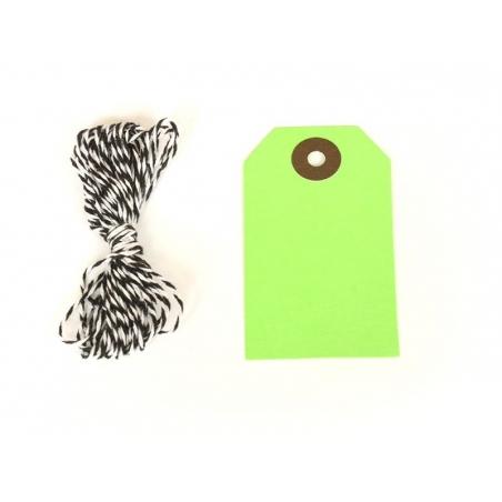 20 étiquettes rectangle et leur ficelle - vert pomme Rico Design - 1