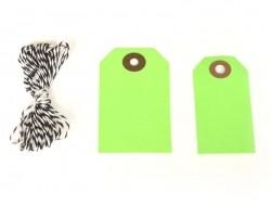 20 étiquettes rectangle et leur ficelle - vert pomme Rico Design - 3
