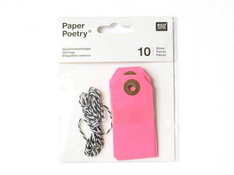 10 étiquettes rectangle et leur ficelle - rose fluo Rico Design - 1