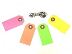 10 étiquettes rectangle et leur ficelle - rose fluo