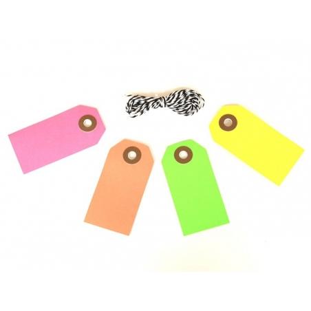 10 étiquettes rectangle et leur ficelle - rose fluo Rico Design - 2