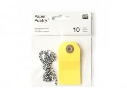 10 étiquettes rectangle et leur ficelle - jaune