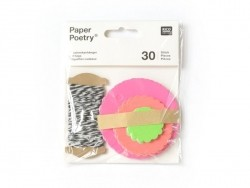 30 ornamental tags and cord - neon