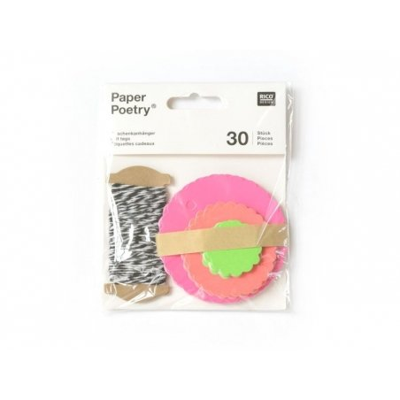30 étiquettes rond ondulé et leur ficelle - fluo Rico Design - 2