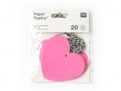 20 étiquettes coeur et leur ficelle - rose fluo