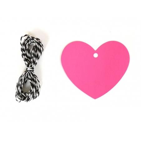 20 étiquettes coeur et leur ficelle - rose fluo Rico Design - 1