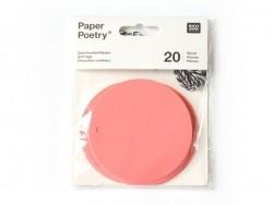 20 étiquettes rond et leur ficelle - rose fluo