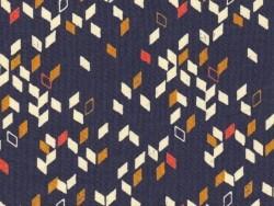 """Stoff mit geometrischem Muster - """"Twist Dark Blue"""""""