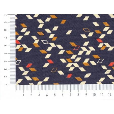 Fabric with a geometric design - Twist dark blue