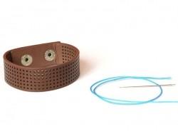 Schmales Armband zum Besticken - braun
