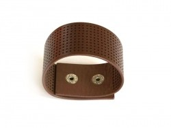 Wide embroidery bracelet - brown