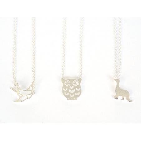 Delicate dino necklace - silver-coloured metal