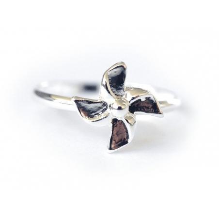 Bague moulin à vent origami fleur couleur argenté