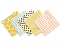 20 Coupons de tissu 13,5 x 13,5 cm - 5 motifs Graphique pastel