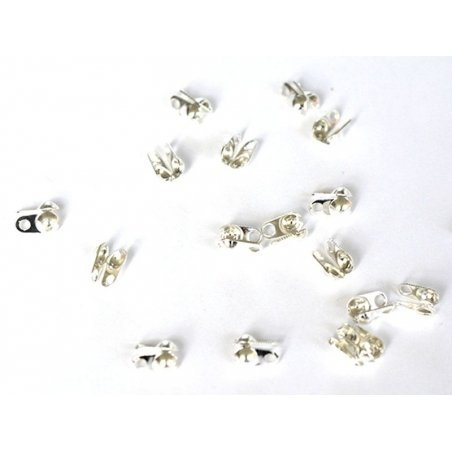 20 light silver-coloured bead tips - Size L