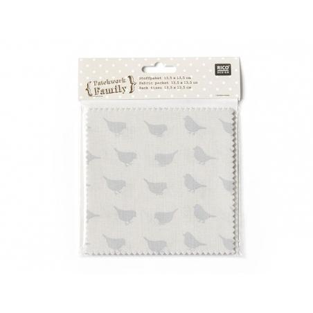 20 fabric remnants (13.5 cm x 13.5 cm) - 5 romantic patterns