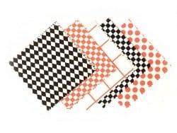 20 Coupons de tissu 13,5 x 13,5 cm - 5 motifs Noir/ Blanc/ Fluo Rico Design - 1
