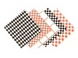 20 fabric remnants (13.5 cm x 13.5 cm) - 5 black/white/neon-coloured patterns