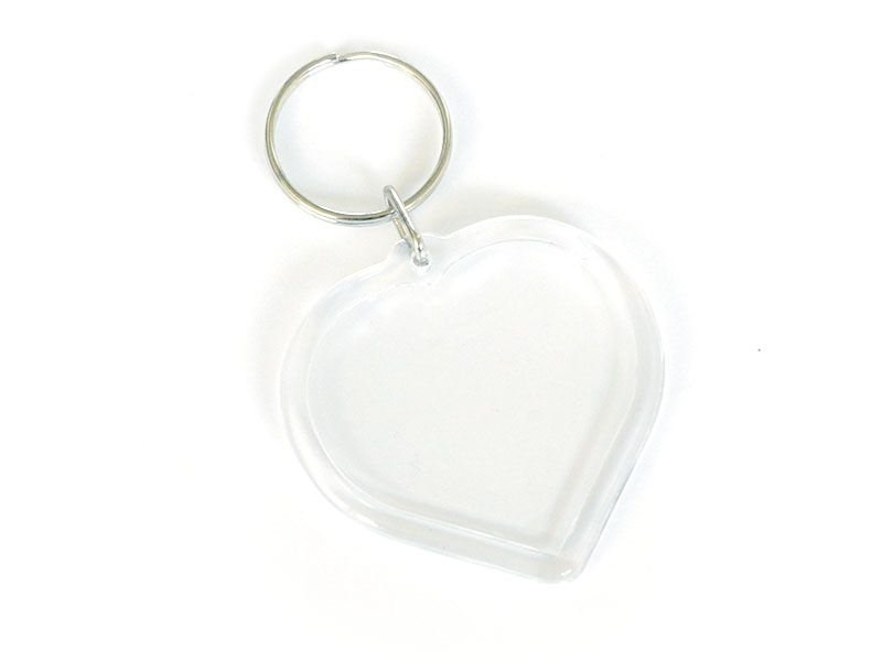 Transparent key fob - heart